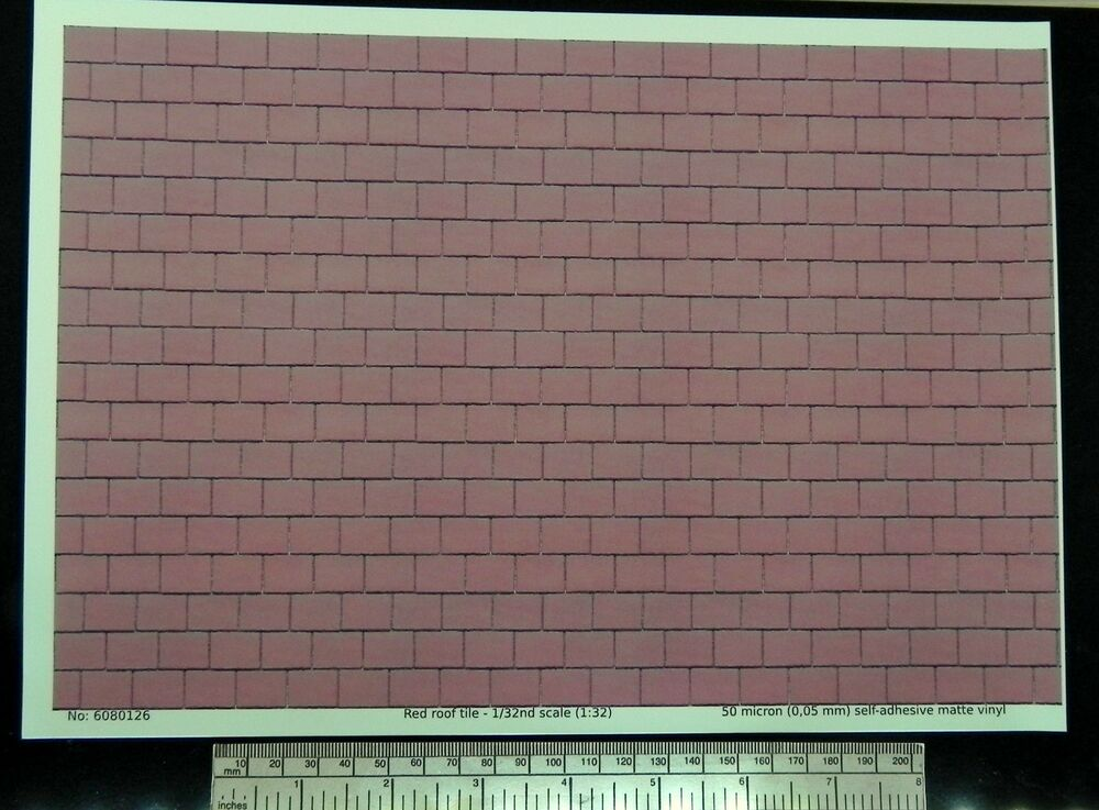 Red Roof Tile Self Adhesive Vinyl 1 32nd Scale 1 32 A4