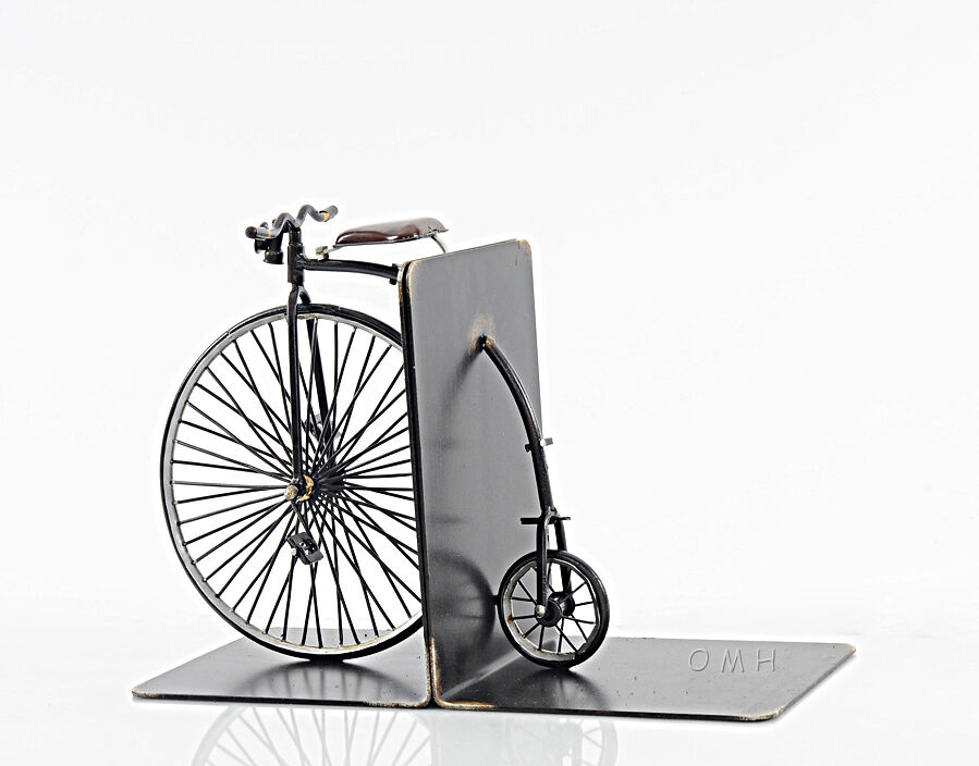 1870 high wheeler penny farthing bicycle metal bookend for 70 bike decoration