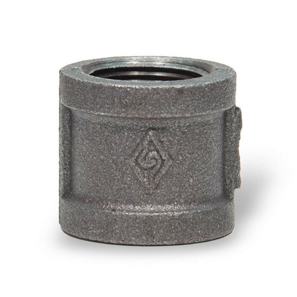 Quot black malleable iron straight coupling fitting pipe