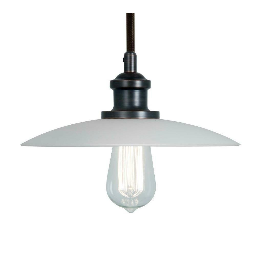 Home decorators 523576 1 light white glass saucer mini pendant with edison bulb ebay Home decorators collection mini pendant