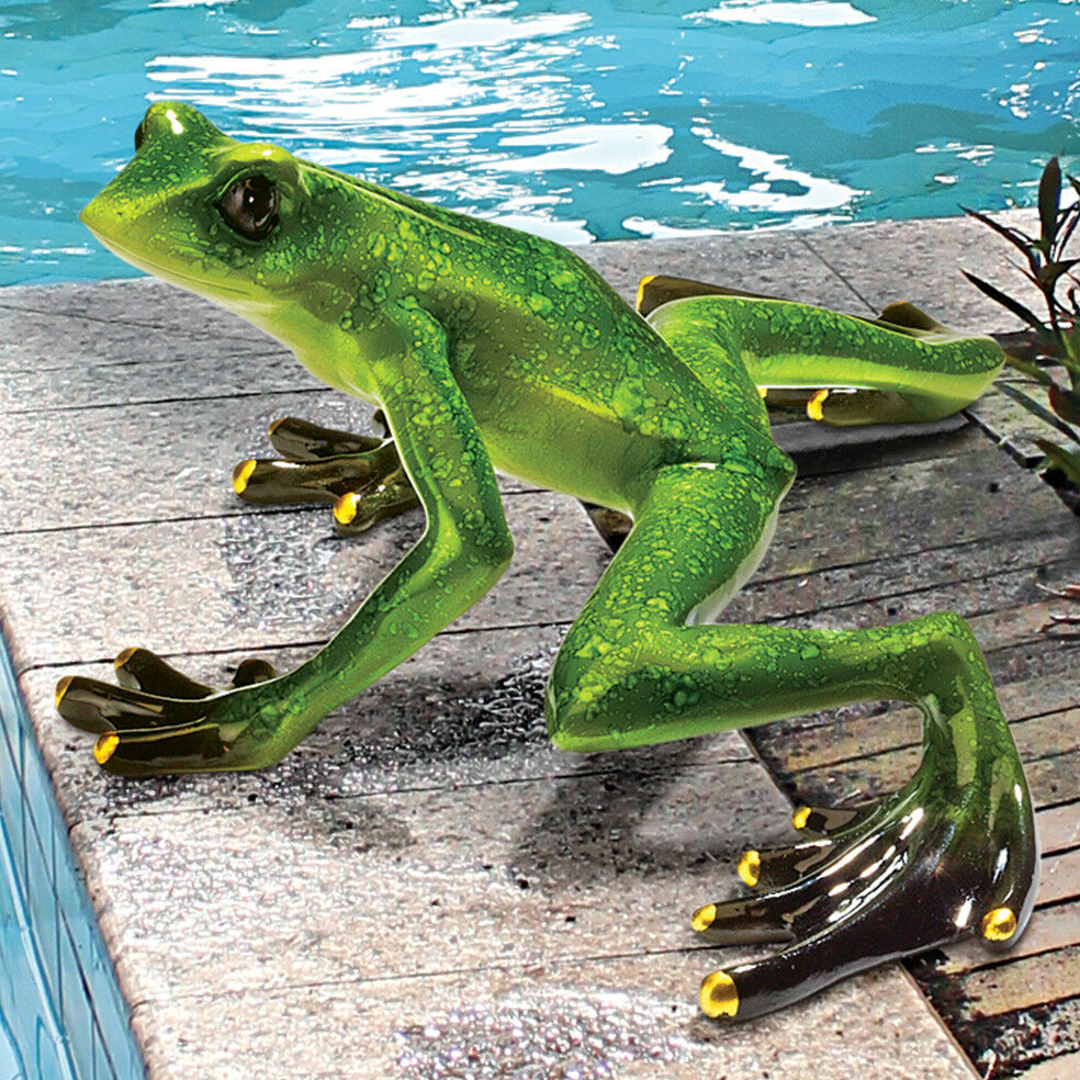 Garden frog toad statue figurine pond pool decor lawn art for Garden pool ornaments
