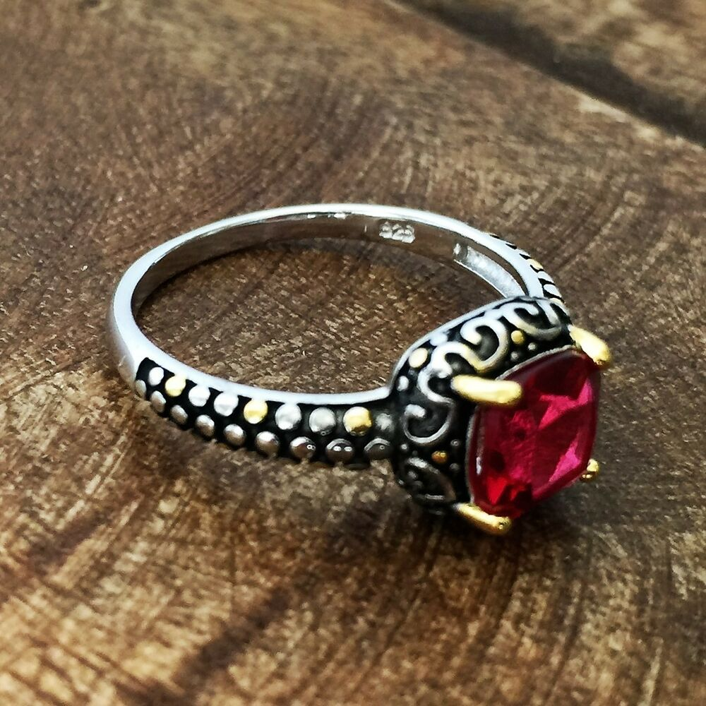 Sterling Silver Celtic Synthetic Ruby Ring Size 4 11 Ebay