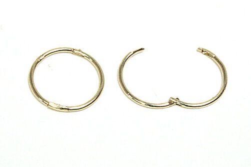 9ct Gold 13mm Hinged Hoop Sleeper Earrings Ebay