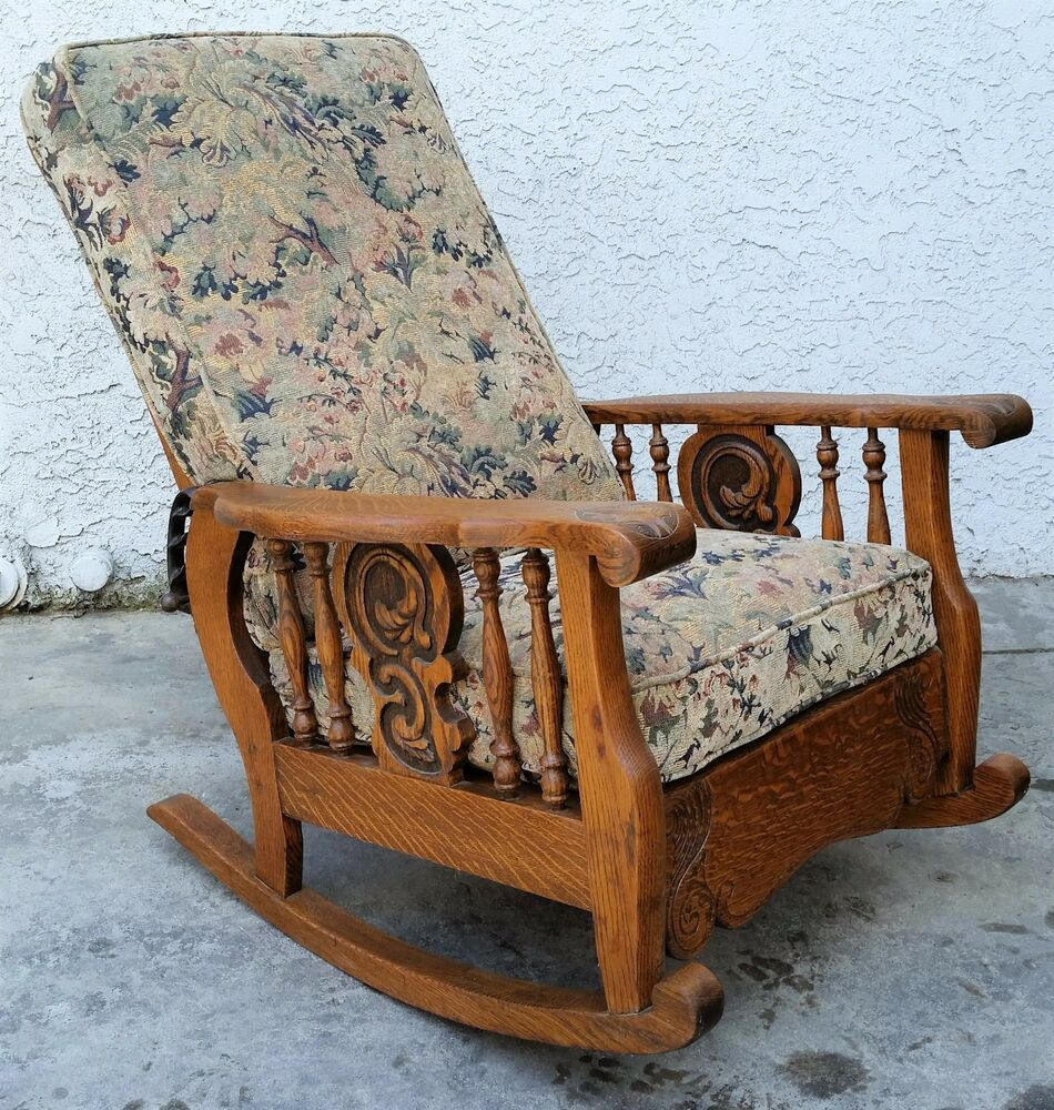 Antique Oak Chairs ~ Antique american tiger oak morris arm chair recliner