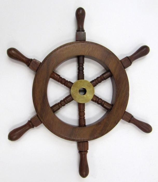 "Nautical Wheel Decor: 9"" SHIP WHEEL WOODEN"