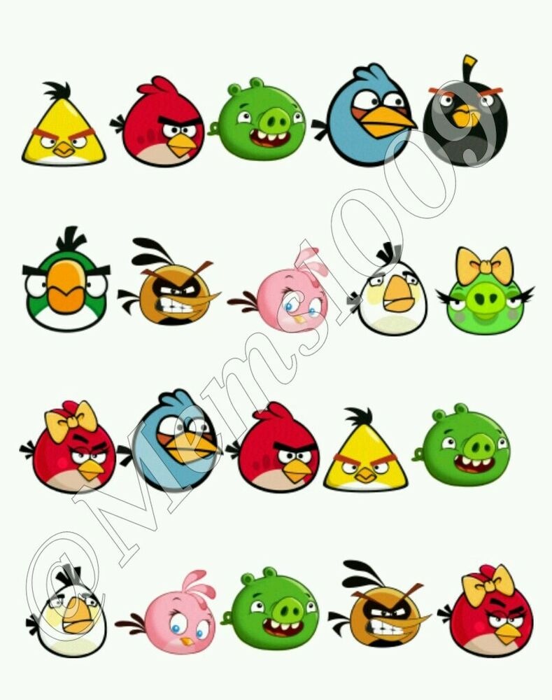 Angry birds nail decals water decals angry birds nail for Angry bird mural