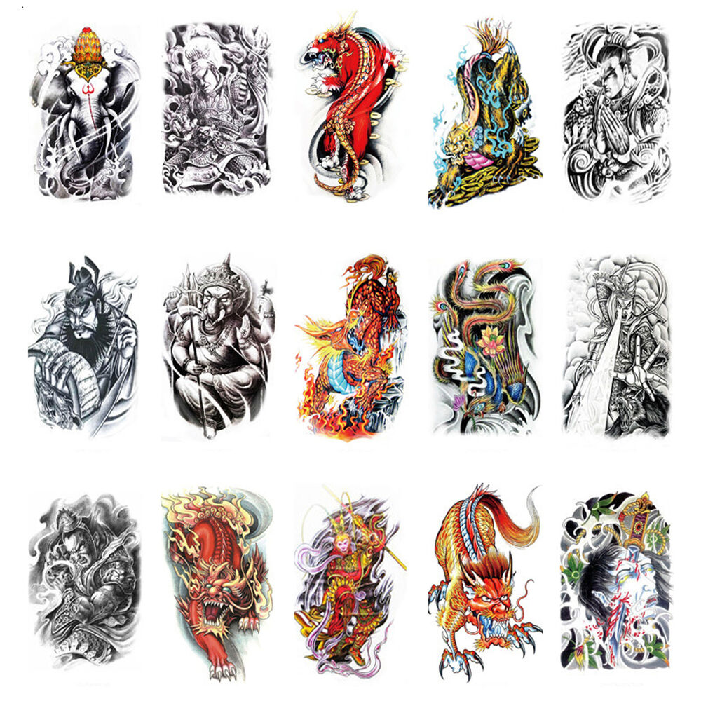 Large sexy temporary tattoo body arm stickers skull for Temporary tattoo sticker