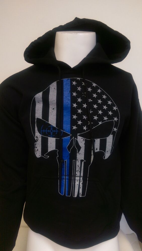 Thin Blue Line Tactical Usa Hoodie Sweat Shirt Police Law