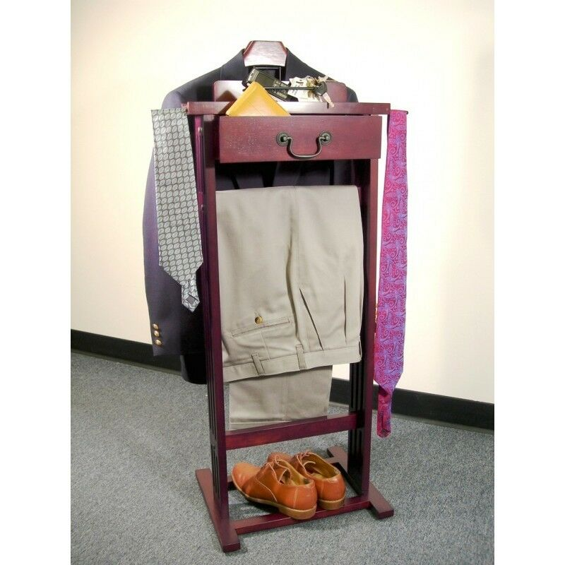 suit clothes valet wardrobe stand catchall clothing rack. Black Bedroom Furniture Sets. Home Design Ideas
