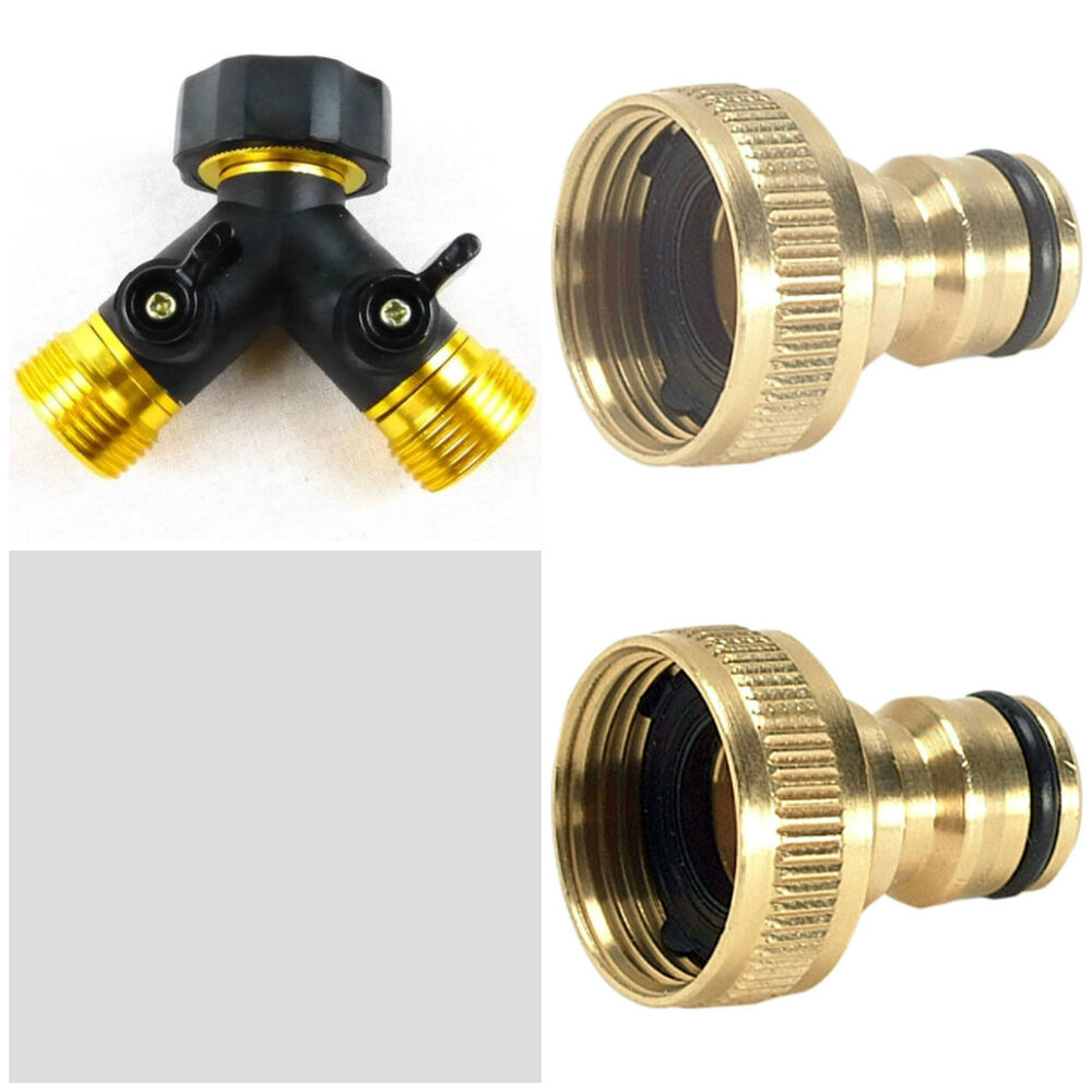3 4 Two Way Double Garden Twin Tap Hose Pipe Splitter