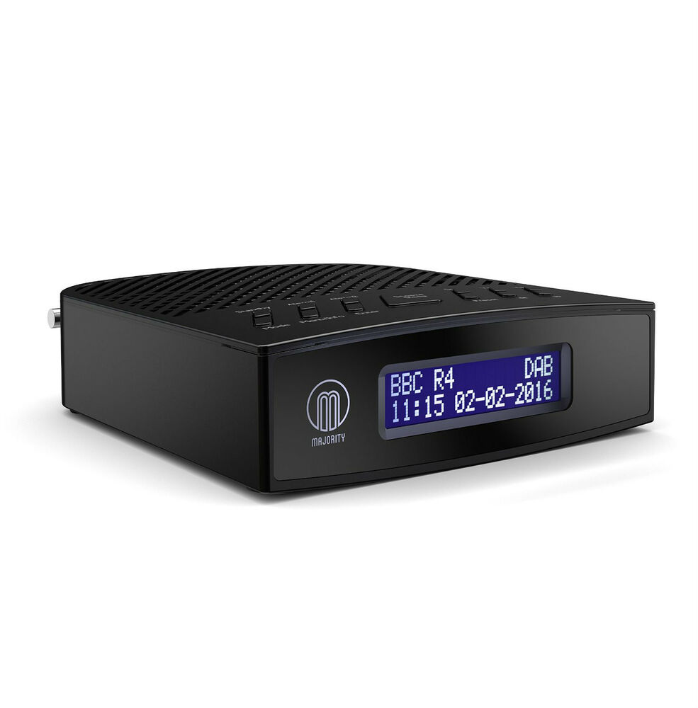 majority milton dab digital fm bedside alarm clock radio black ebay. Black Bedroom Furniture Sets. Home Design Ideas