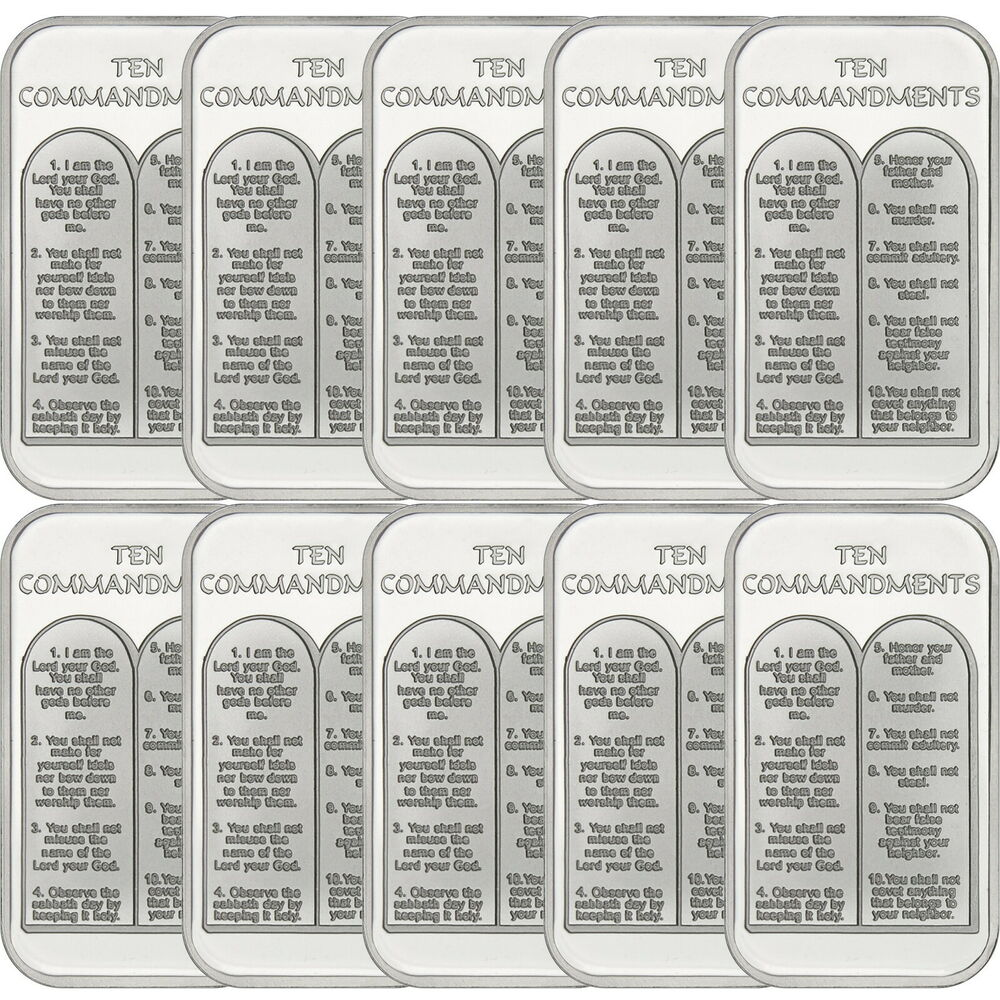 Ten Commandments 1 Ounce 999 Silver Bar By Silvertowne 10