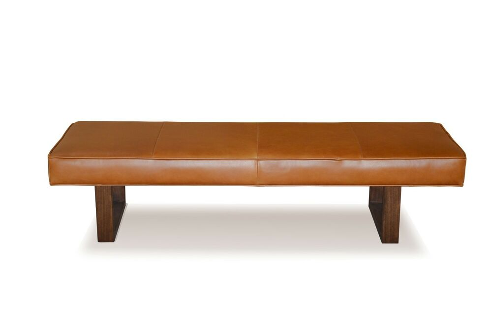 Genuine Distressed Brown Leather Upholstered Bench