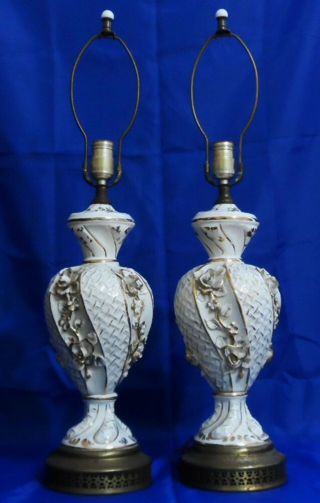 Vtg Pair Mid Century French Porcelain Table Lamps White