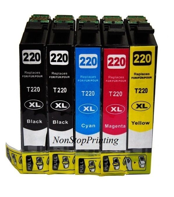 5x Hi-Yield 2BK+3Color Ink For Epson T220XL WF2630 WF2650