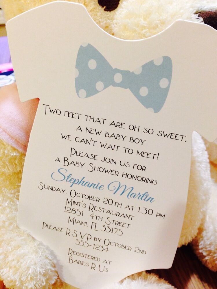 baby shower invitations blue and while polka dot bow tie onesie
