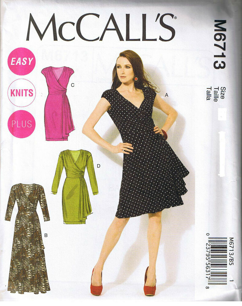 Stretch Knit Sewing Patterns : Mock Wrap Stretch Knit Dress Pleated Drape McCall Sewing Pattern 8 10 12 14 1...