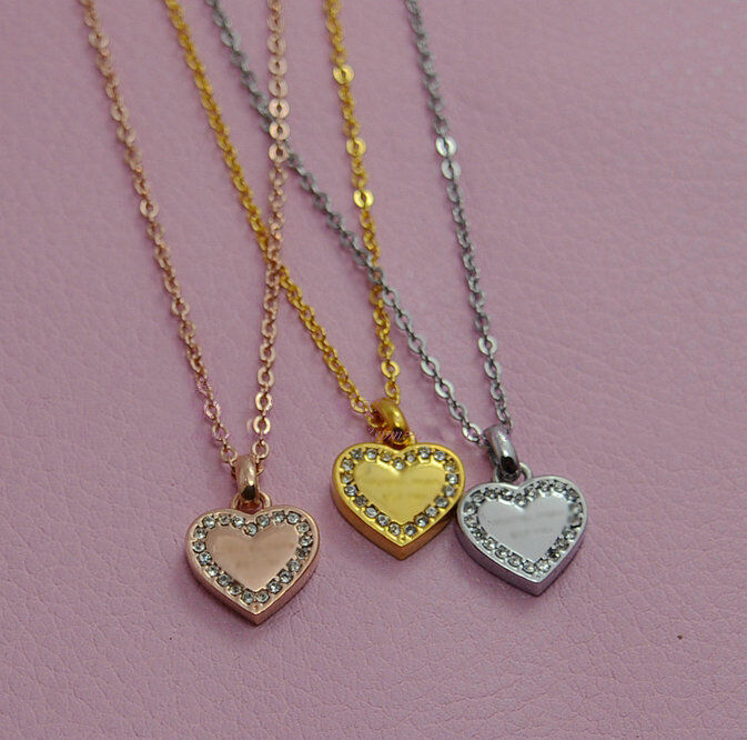 Fashion Gold/Silver/Rose Gold Color Classic Pave Heart ...