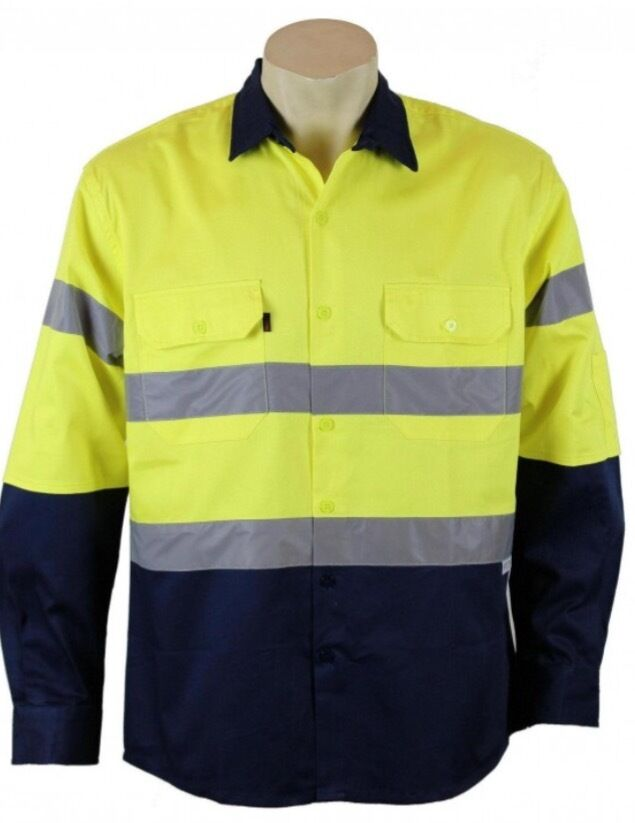 Men hi vis safety cotton drill long sleeve shirts for Hi vis shirts with reflective tape