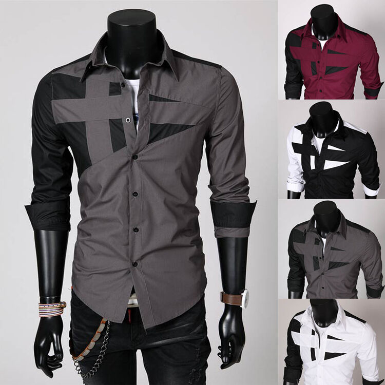 Mens korean unique neckline stylish dress long sleeve for Cool mens casual shirts