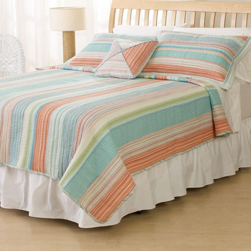 Coral Stripe Full Queen Quilt Set Amagansett Blue