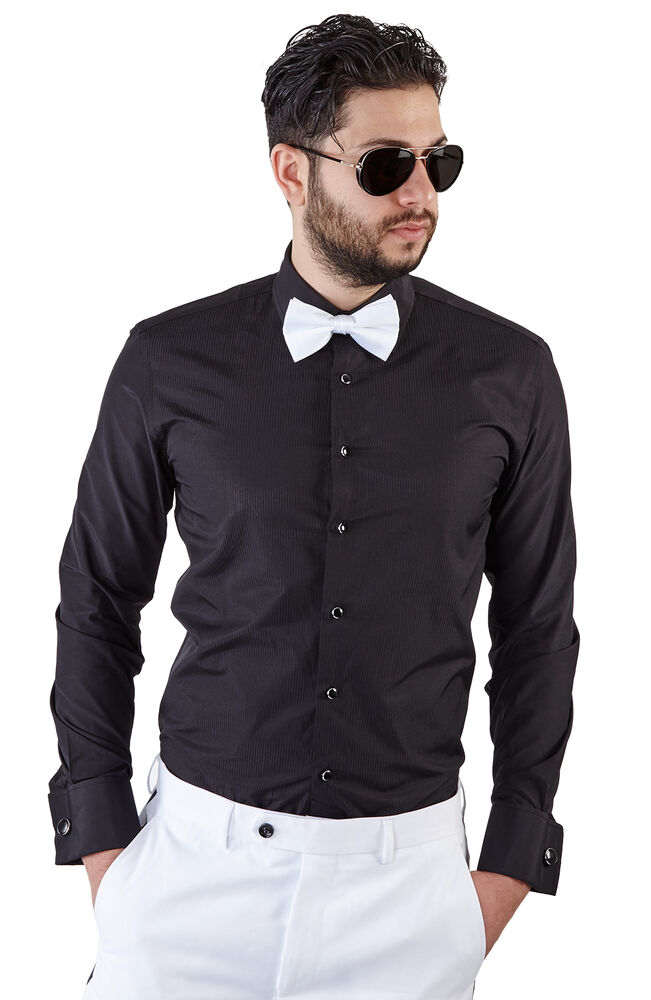 New mens slim fit black tuxedo dress shirt french cuff lay for Black tuxedo shirt for men