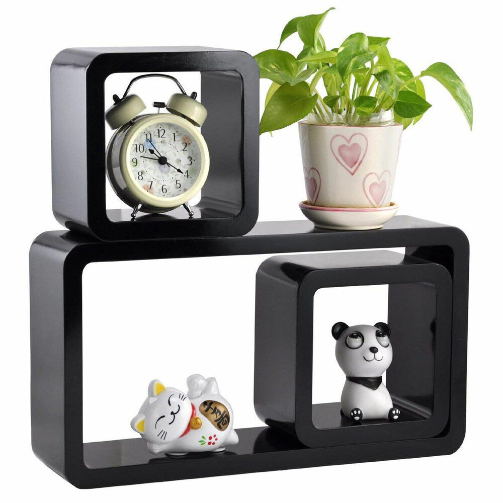 Set Of 3 Floating Wall Shelves Storage Display Shelf Cube