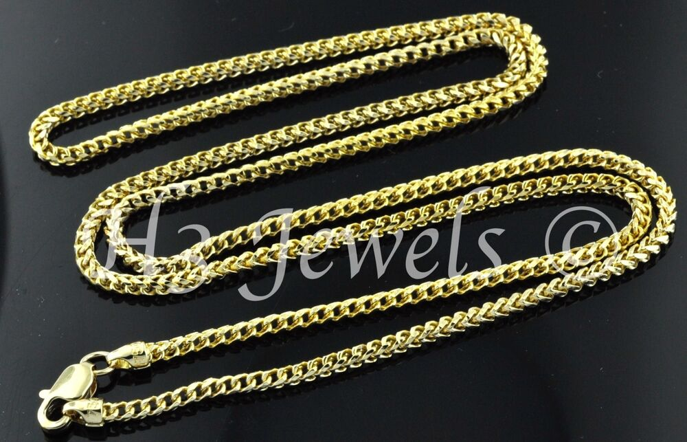 18k Solid Yellow Gold Franco Chain Necklace Italian 20