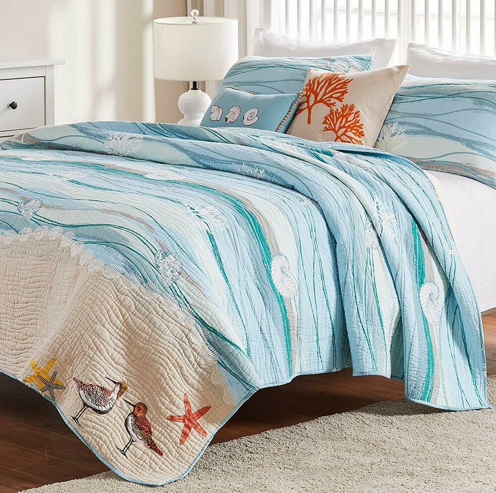 Seaside Blue King Quilt Set Beach House Coral