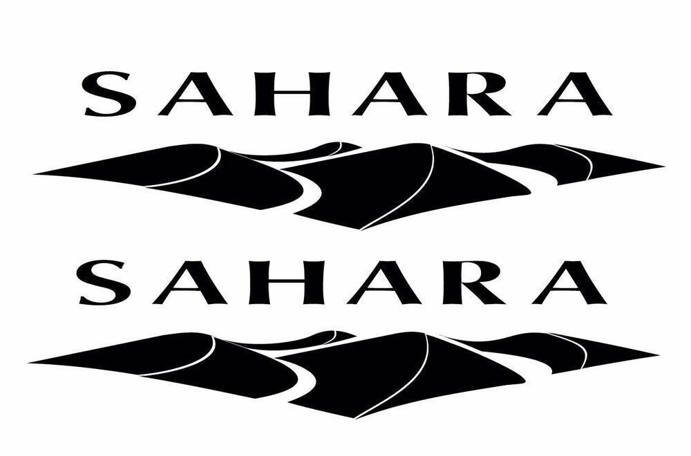 "Jeep Wrangler Lift Kit >> Pair (2) Sahara Jeep Sport decals/stickers Choose color 2"" x 8"" wrangler 
