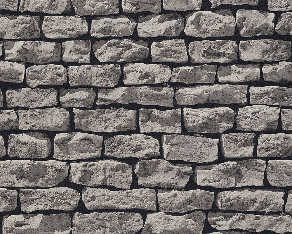 realistic dark grey brick dry stone wall effect wallpaper max p p ebay. Black Bedroom Furniture Sets. Home Design Ideas