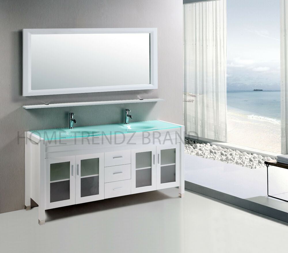 60 Inch Double Sink Bathroom Vanity Cabinet White With