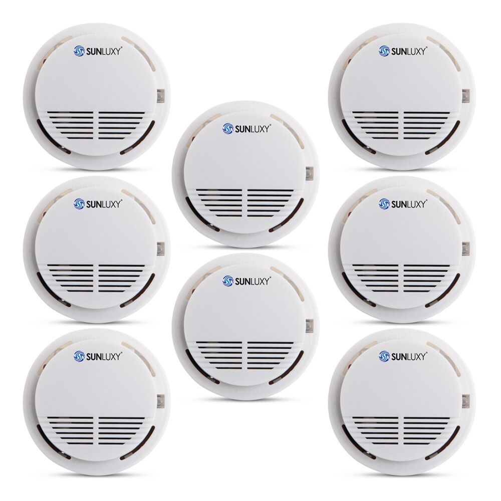8x wireless home security smoke detector fire alarm sensor system cordless wh. Black Bedroom Furniture Sets. Home Design Ideas