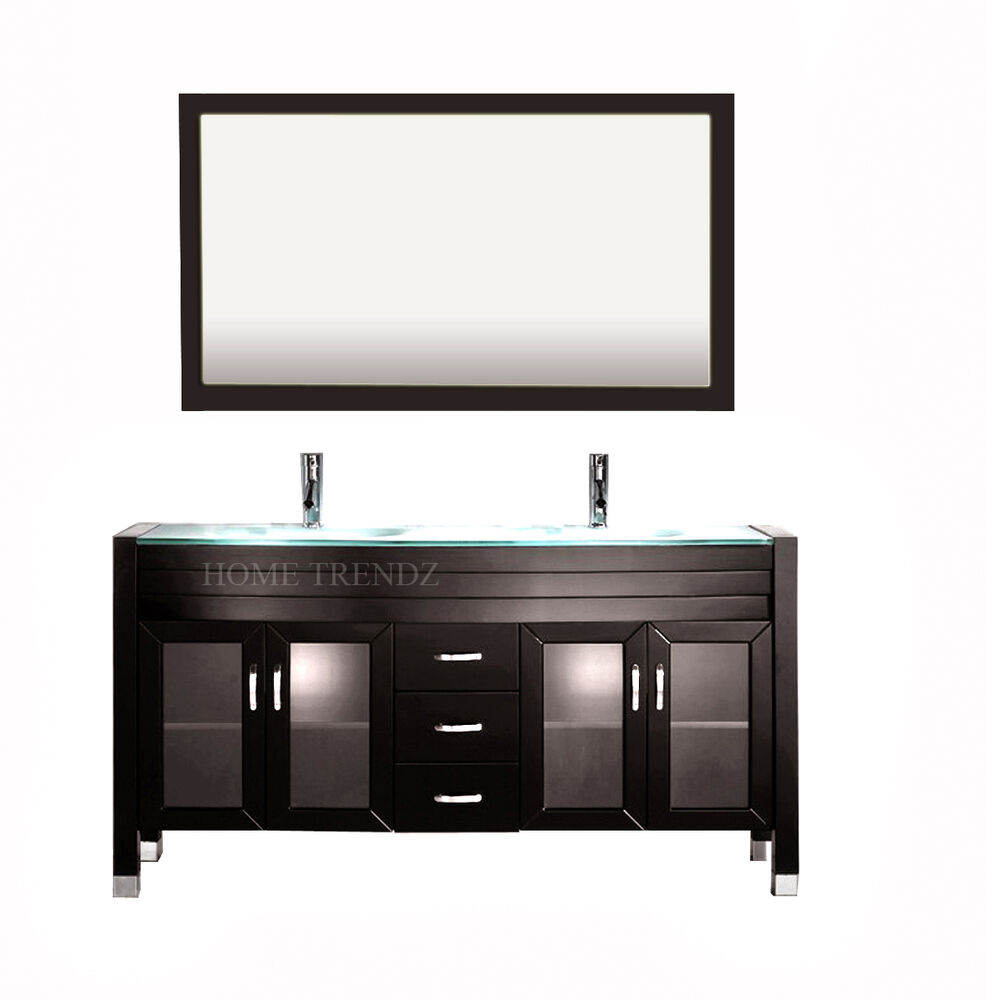 60 inch double sink bathroom vanity cabinet espresso with mirror faucets 20w ebay - Double sink bathroom vanity with hutch ...