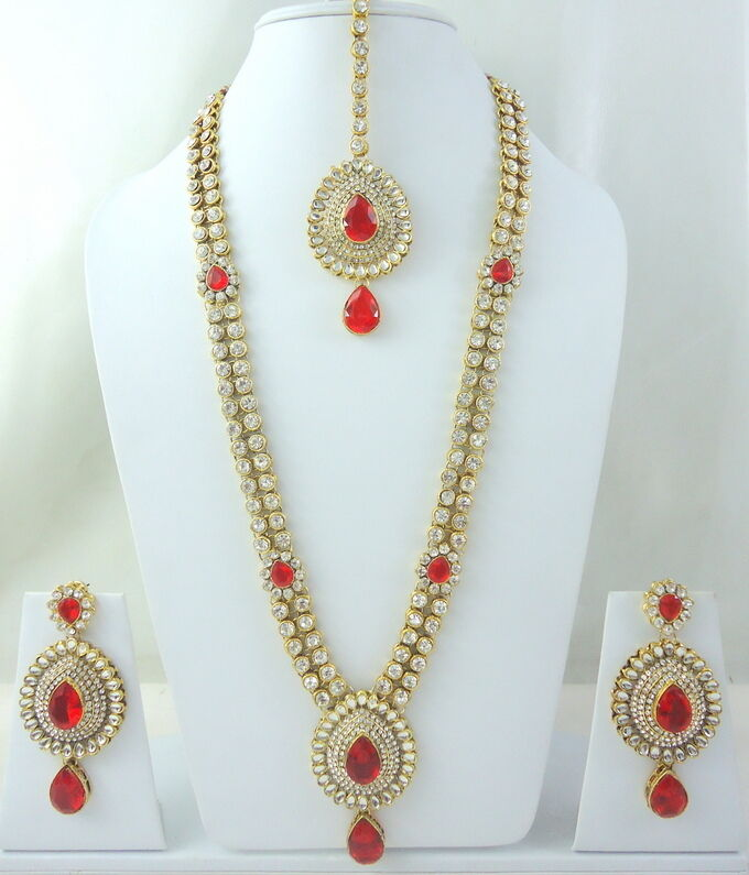 New Necklace Earring Set Gold Polki Jewellery Indian: RED KUNDAN CZ GOLD TONE BOLLYWOOD INDIAN BRIDAL LONG