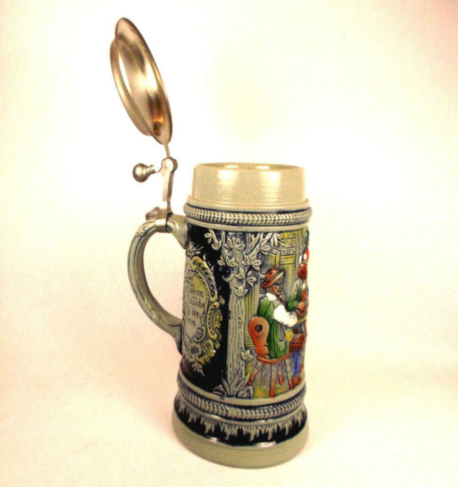 VINTAGE JAGER UND DIRNDL BEER STEIN. WEST GERMANY BLUE ... |Vintage West Germany Beer Steins
