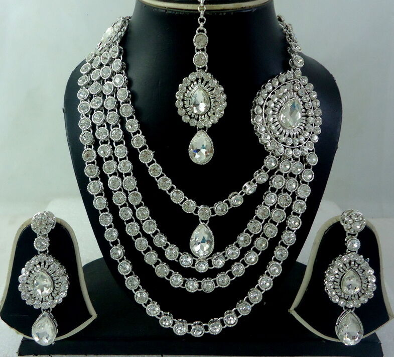 White Cz Silver Tone Rani Haar Bollywood Bridal Necklace
