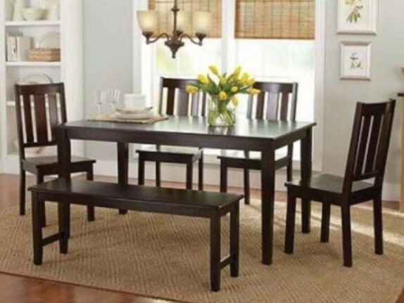 6 pc mocha dining room set kitchen table chairs bench wood for Kitchen table set 6 chairs
