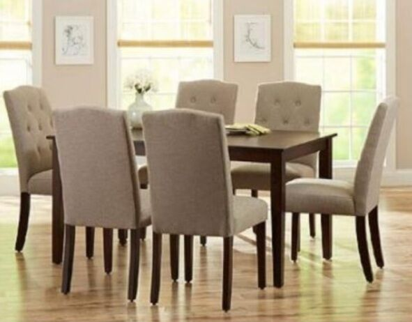 7 pc dining room set mocha wood kitchen table 6 taupe for 7 pc dining room set