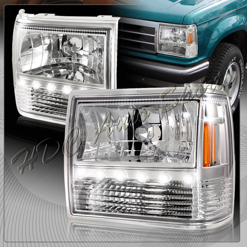 For 1991 1994 Ford Explorer Chrome Housing 1 Piece Led