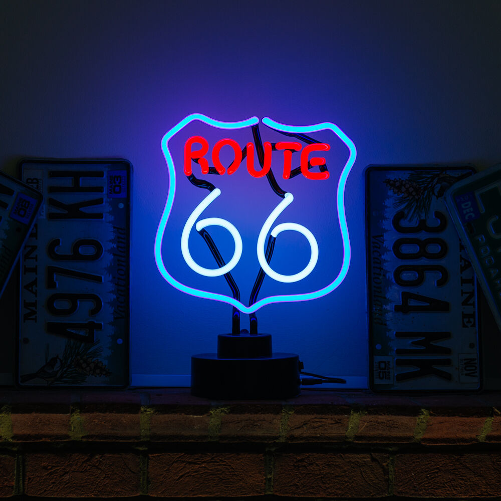 Historic Route 66 Neon Sign Table Reading Lamp Vintage Usa