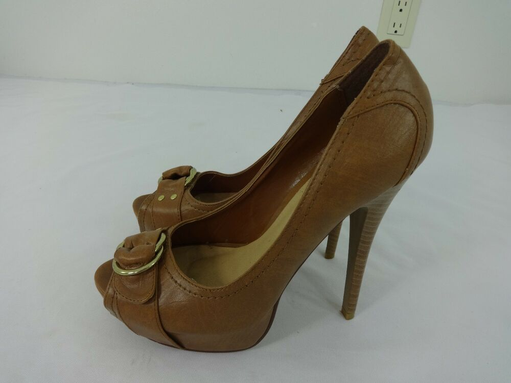 paprika womens brown high heels pumps shoes us size 8 5 m
