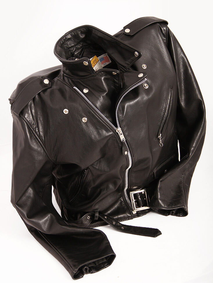 Flannel Motorcycle Jacket >> 100% REAL LEATHER JACKET Handkerchief Sexy Schott Black Size 50 GAY Vintage!! | eBay