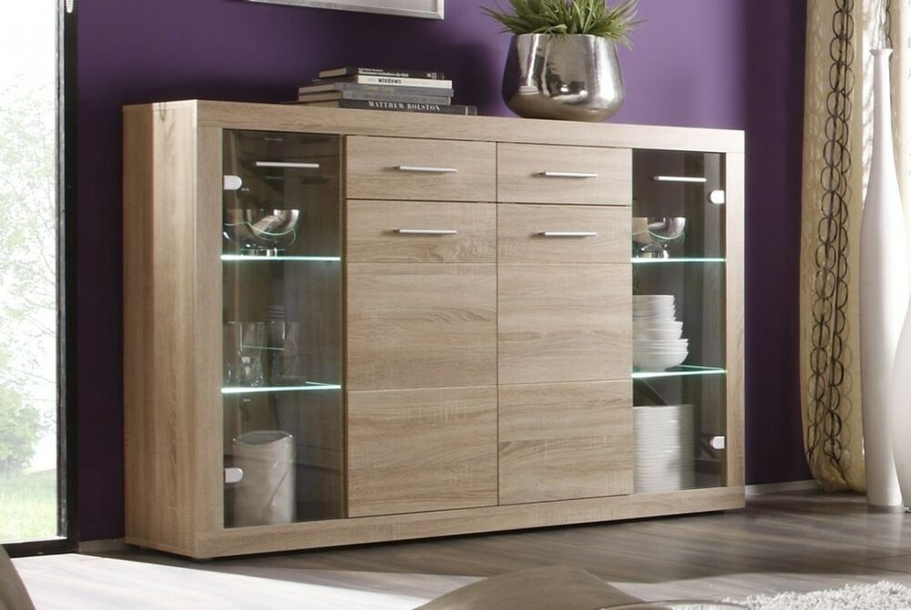 highboard can can sideboard anrichte sonoma eiche ebay. Black Bedroom Furniture Sets. Home Design Ideas