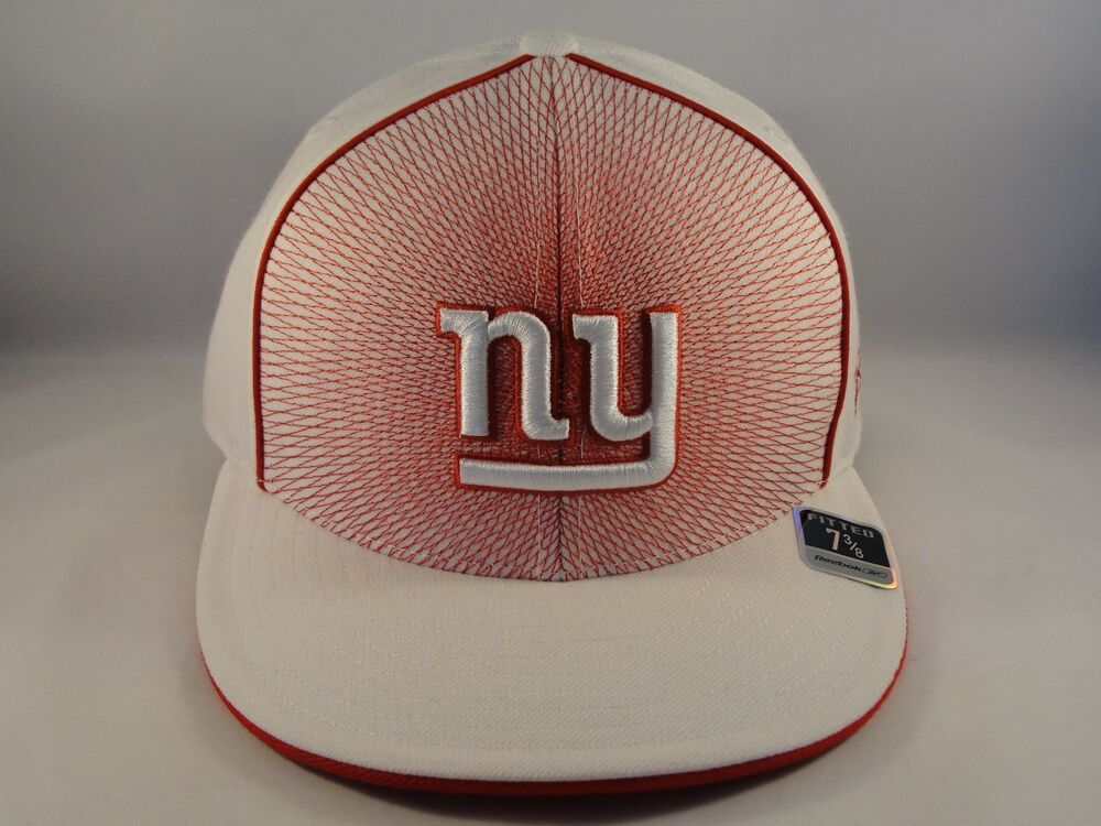 91164a54bb3 Details about NFL New York Giants Reebok Size 7 3 8 Fitted Hat Cap White Red