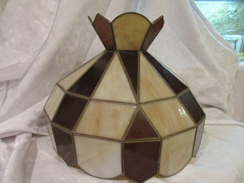 vintage leaded glass lamp shade for hanging ceiling light mexico ebay. Black Bedroom Furniture Sets. Home Design Ideas