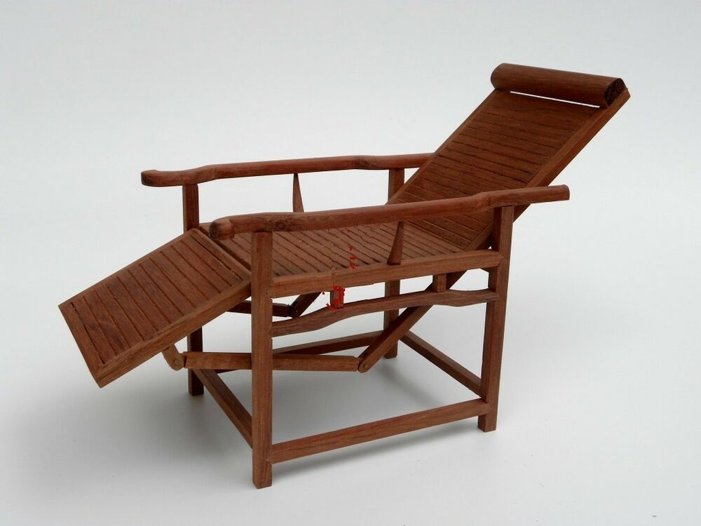 Doll Furniture Outdoor Wood Folding Chaise Lounge 1 6 Scale Barbie Ebay