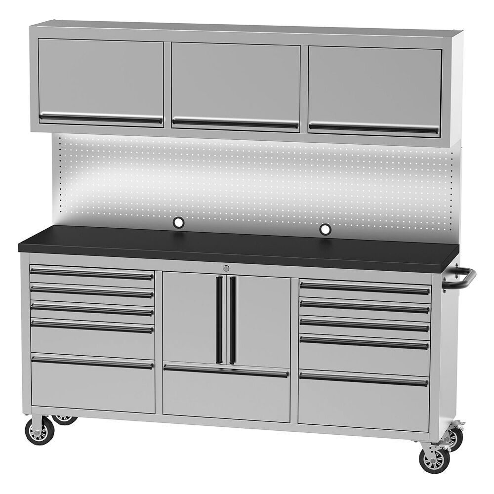 """Kitchen Upper Cabinet With Drawers: Stainless Steel 72"""" 11 Drawer Cabinet And"""
