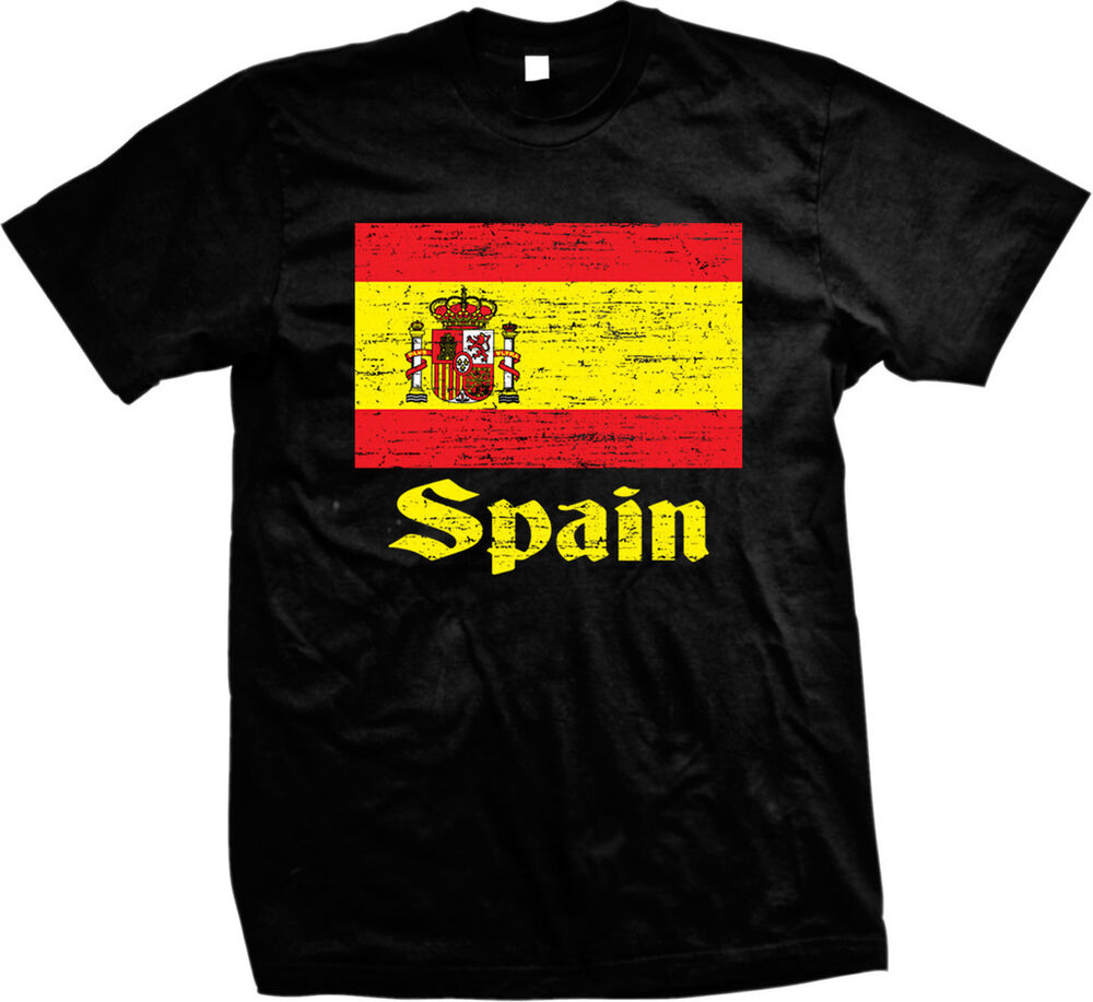 Distressed spanish country flag spain espana pride mens for Spain t shirt football