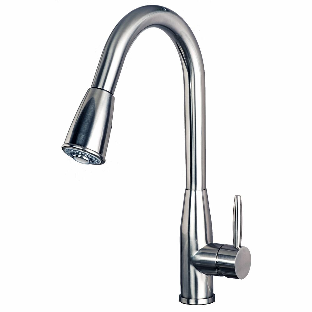 Contemporary 16 Quot Pull Down Spray Kitchen Sink Faucet Stainless Steel Finish Ebay